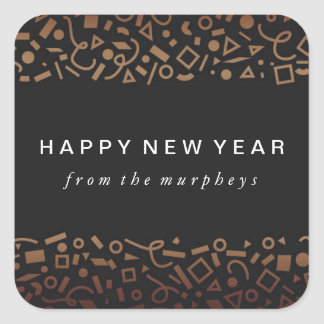 Faux Rose Gold Foil New Years Sticker