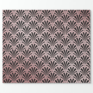 Faux Rose Gold Foil on Black Glam Art Deco Wrapping Paper