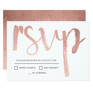 Faux Rose Gold Foil RSVP 9 Cm X 13 Cm Invitation Card