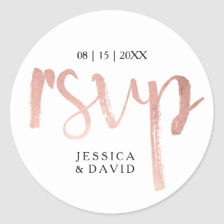 Faux Rose Gold Foil RSVP Classic Round Sticker