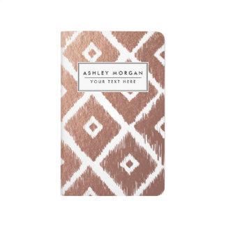 Faux Rose Gold Foil Tribal Pattern Journal