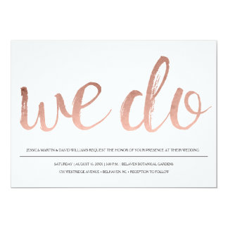 Faux Rose Gold Foil We Do 13 Cm X 18 Cm Invitation Card