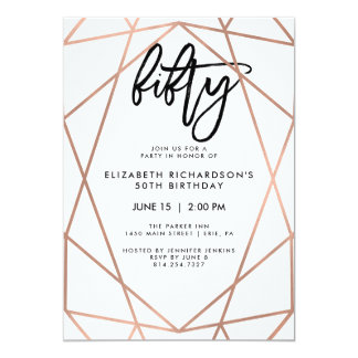 Faux Rose Gold Geometric | 50th Birthday Party Card