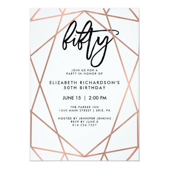 Faux Rose Gold Geometric   50th Birthday Party