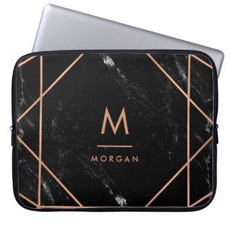 Faux Rose Gold Geometric | Black Marble Look Laptop Sleeves