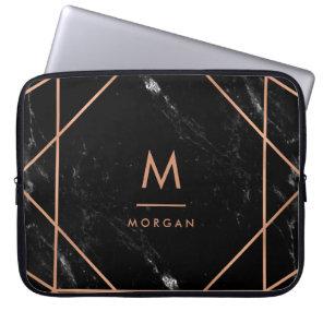Faux Rose Gold Geometric | Black Marble Look Laptop Sleeve