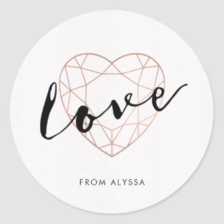 Faux Rose Gold Geometric Heart | Love Classic Round Sticker