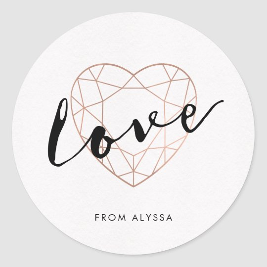 Faux Rose Gold Geometric Heart | Love Classic