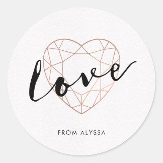 Faux Rose Gold Geometric Heart | Love Round Sticker