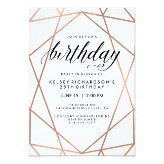 Faux Rose Gold Geometric Lines | Birthday Party Card