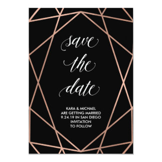Faux Rose Gold Geometric on Black | Save the Date Card