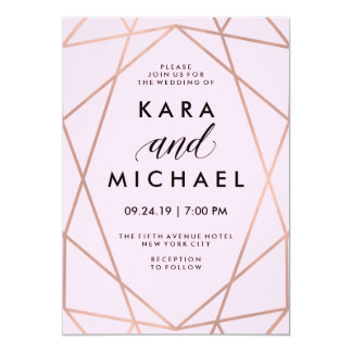 Faux Rose Gold Geometric on Blush Pink Wedding Card