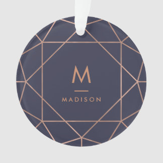 Faux Rose Gold Geometric on Midnight Blue Ornament