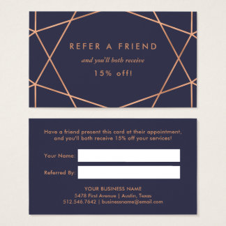 Faux Rose Gold Geometric on Midnight Blue Referral Business Card