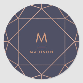 Faux Rose Gold Geometric on Midnight Blue Round Sticker