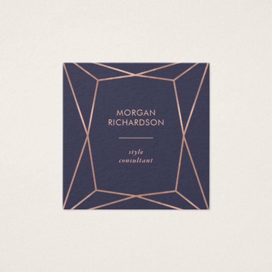 Faux Rose Gold Geometric on Midnight Blue Square
