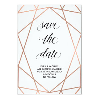 Faux Rose Gold Geometric on White | Save the Date 13 Cm X 18 Cm Invitation Card
