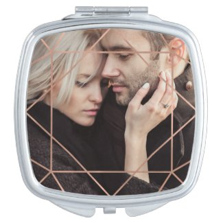 Faux Rose Gold Geometric Overlay with your Photo Compact Mirror