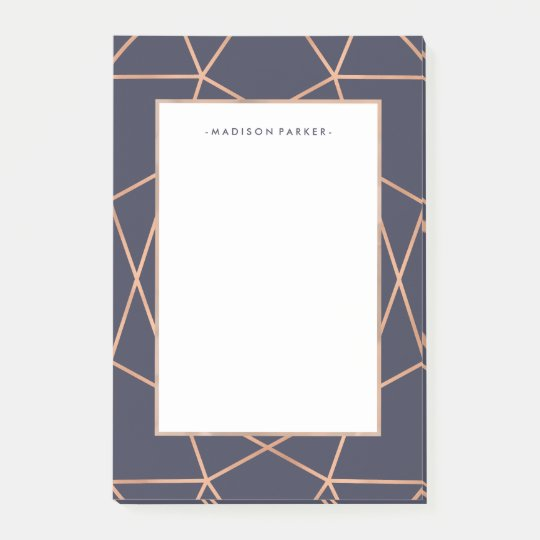 Faux Rose Gold Geometric Pattern on Midnight Blue