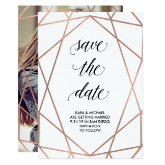 Faux Rose Gold Geometric Save the Date | Photo Card
