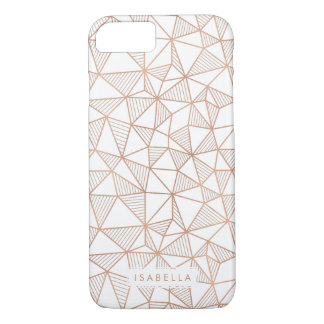 Faux Rose Gold Geometric Triangle Pattern iPhone 7 Case
