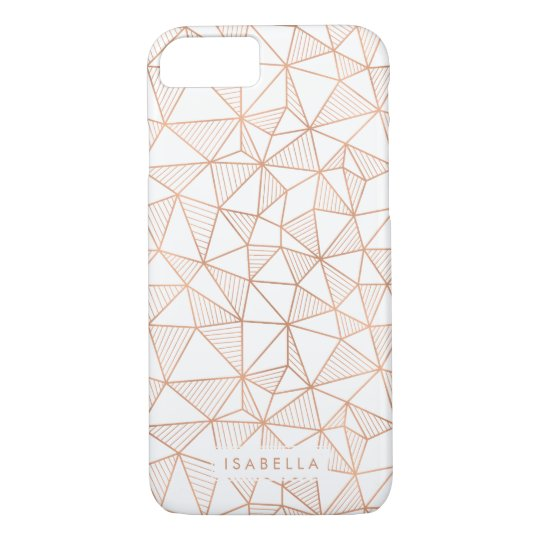 Faux Rose Gold Geometric Triangle Pattern iPhone 8/7