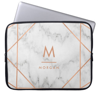 Faux Rose Gold Geometric | White Marble Look Laptop Sleeve