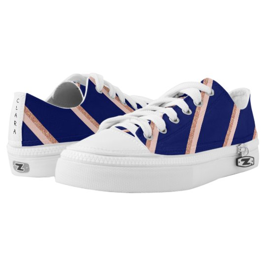 faux rose gold glitter and pink stripes pattern low tops