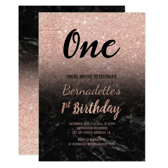 Faux rose gold glitter black marble first Birthday