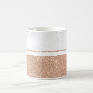 Faux rose gold glitter black white marble stripes coffee mug