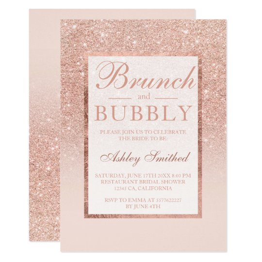 Faux rose gold glitter brunch bubbly bridal shower invitation faux rose gold glitter brunch bubbly bridal shower invitation filmwisefo