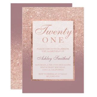 Faux rose gold glitter dusty rose 21st birtday card
