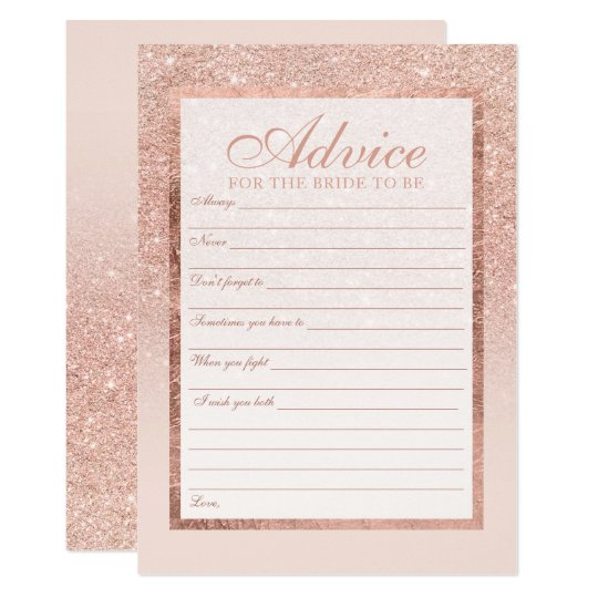 Faux rose gold glitter elegant Advice bridal 2