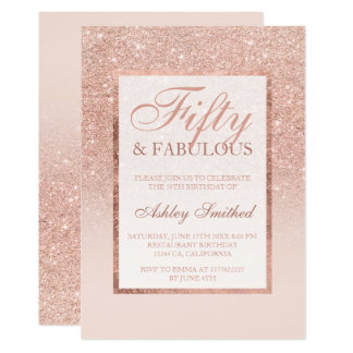 Faux rose gold glitter elegant chic 50 fabulous card