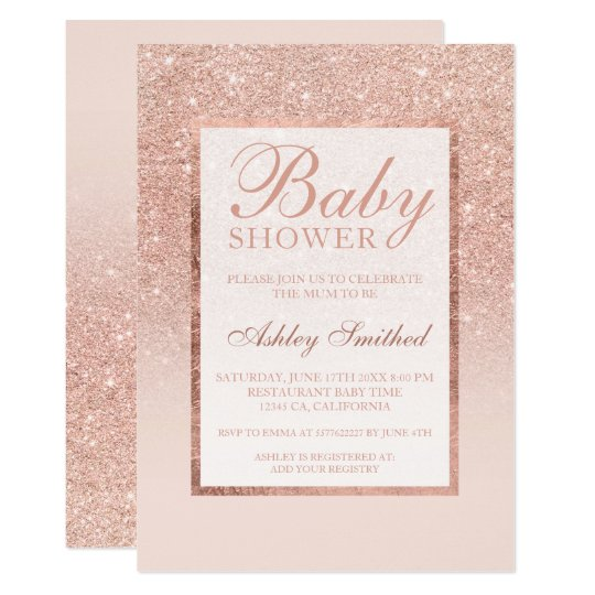 Faux rose gold glitter elegant chic Baby shower