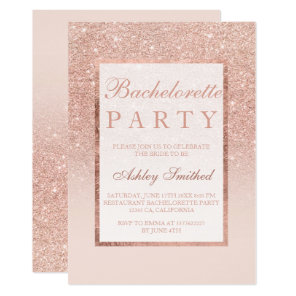 Faux rose gold glitter elegant chic Bachelorette Invitation