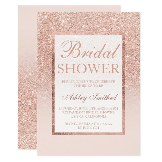 Faux rose gold glitter elegant chic Bridal shower