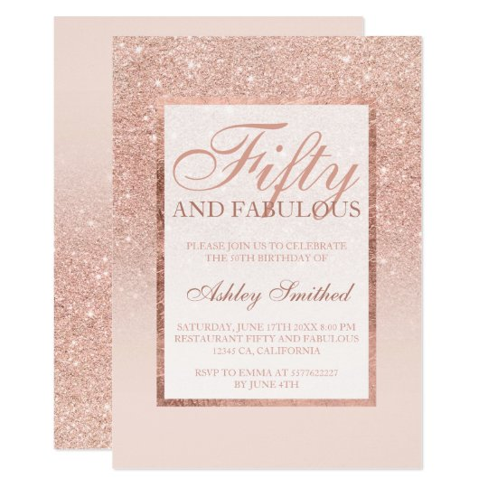 Faux rose gold glitter elegant chic fifty fabulous
