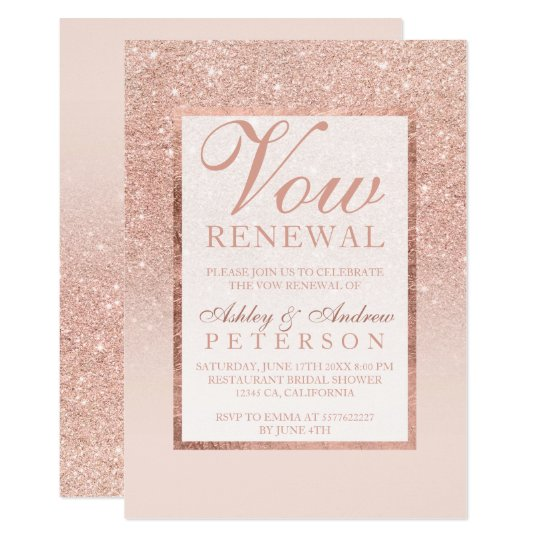 Faux rose gold glitter elegant chic Vow Renewal