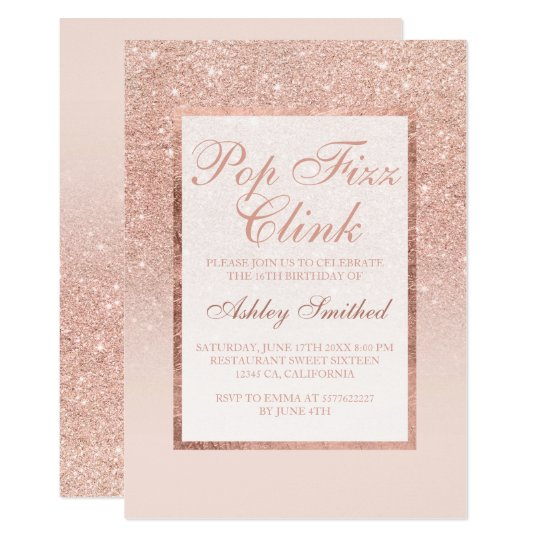 Faux rose gold glitter elegant Pop fizz clink
