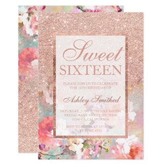 Faux rose gold glitter floral watercolor Sweet 16 Card