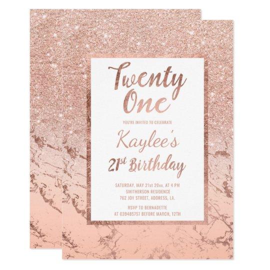 Faux Rose Gold Glitter Marble Blush 21st Birthday Invitation