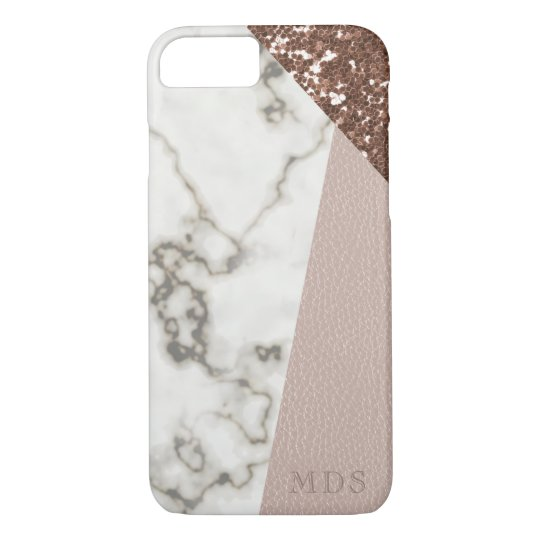Faux Rose Gold Glitter Marble Blush Leather iPhone