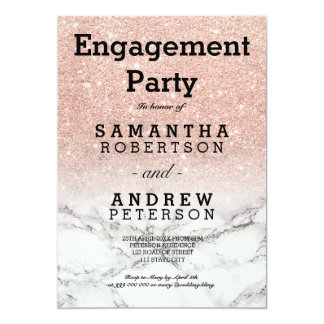 Faux rose gold glitter marble engagement party card
