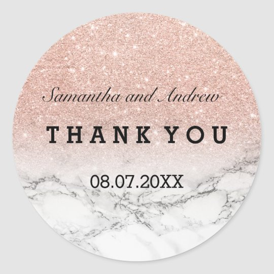 Faux rose gold glitter marble ombre Thank you