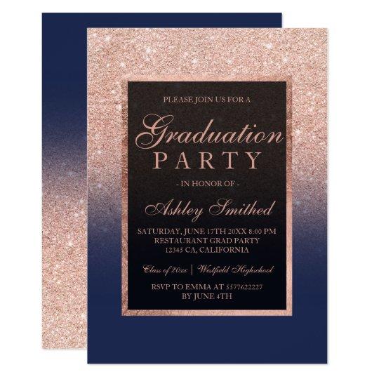 Faux rose gold glitter navy blue graduation party invitation faux rose gold glitter navy blue graduation party invitation filmwisefo