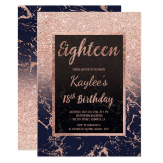Faux rose gold glitter navy marble 18th Birthday Card