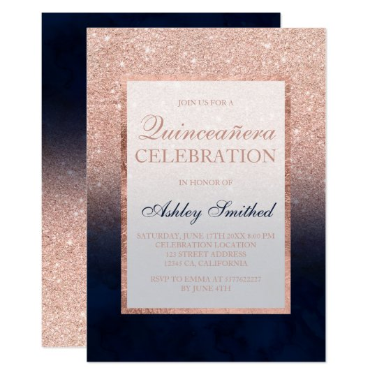 Faux rose gold glitter navy watercolor Quinceañera Card