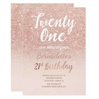 Faux rose gold glitter ombre 21st Birthday 13 Cm X 18 Cm Invitation Card