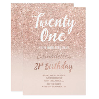 Birthday cards invitations zazzle faux rose gold glitter ombre 21st birthday card stopboris Image collections